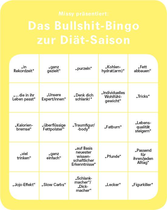 Missy präsentiert: Das Bullshit-Bingo zur Diät-Saison. (c) MIssy Magazine