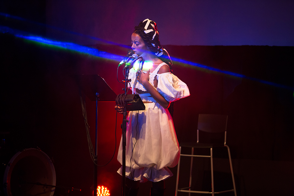 Juliana Huxtable: There Are Certain Facts that Cannot Be Disputed at The Museum of Modern Art, November 2015. Pictured: Juliana Huxtable. © 2015 The Museum of Modern Art, New York. Photo: Julieta Cervantes