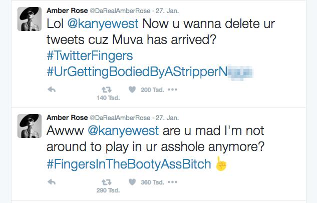 Richtig Katastrophe: Zwischen Amber Rose und Kanye West lief ein krasser Tweef.