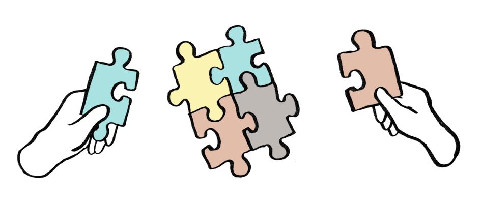 Diversity-Stockfoto: weiße Hände fügen ein buntes Puzzle zusammen. © Tine Fetz