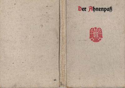 Einband des Ahnenpasses von 1942 mit aufgesticktem Schriftzug und Adler-Symbol