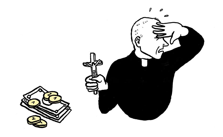 Ein Pfarrer hält einem Haufen Bargeld ein Kreuz entgegen, um sich zu schützen